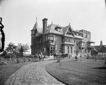 404 Theodore Ave. (now Laurier Ave. E.), October 1895.  This house, which once stood where the Strathcona apartment building is now, used to belong to William H. Davis, a well-connected government contractor. It is his son riding the pony in front of the footman in the family carriage. Mr. Davis also built Timber House at 27 Goulburn Ave., which still stands today behind the Strathcona. Davis died in Montreal in 1905 at age 54. (LAC PA-027700)